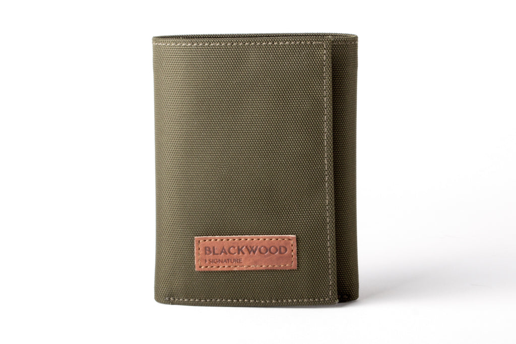 BLACKWOOD SIGNATURE TRIFOLD NYLON WALLET WITH FLIP CARD CASE