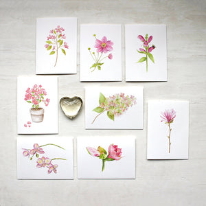Pink Floral Note Card Assortment in Watercolor