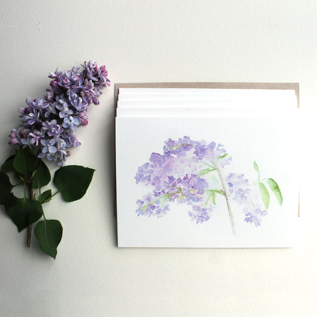 Lilac Watercolor Note Cards