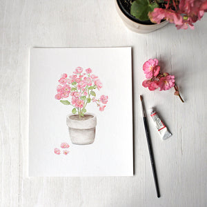 Pink Begonia in a Pot - Art Print