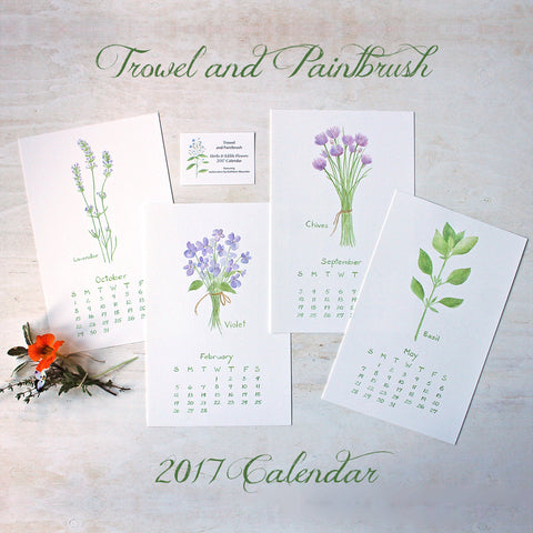 2017 Calendar - Herbs and Edible Flowers (unbound)
