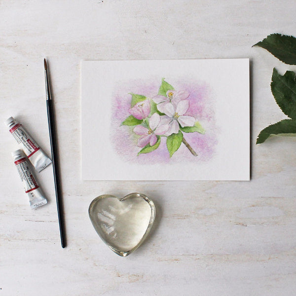 Apple blossom watercolor print by Kathleen Maunder - Trowel and Paintbrush