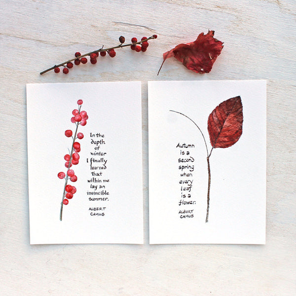Winterberry and Autumn Leaf images with hand lettered Camus quotes, trowelandpaintbrush.com