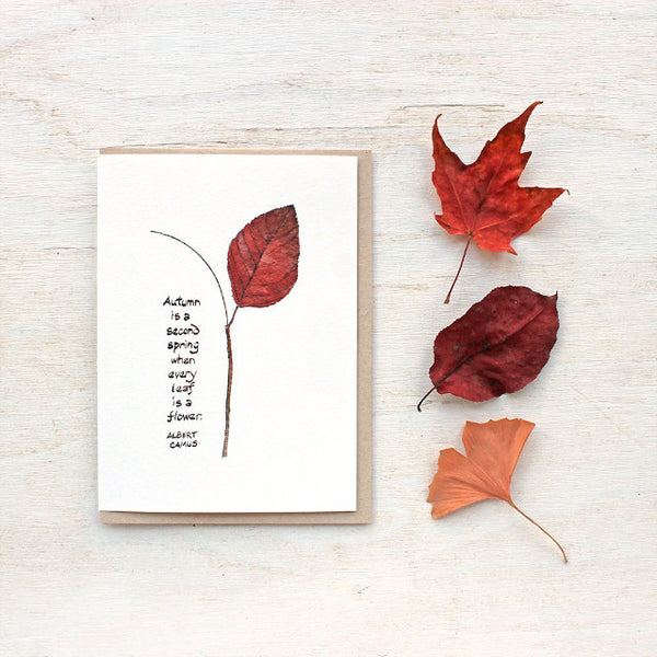 Autumn leaf watercolor cards with Albert Camus quote, trowelandpaintbrush.com