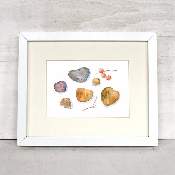 Framed Autumn Collection watercolor print by Kathleen Maunder - trowelandpaintbrush.com