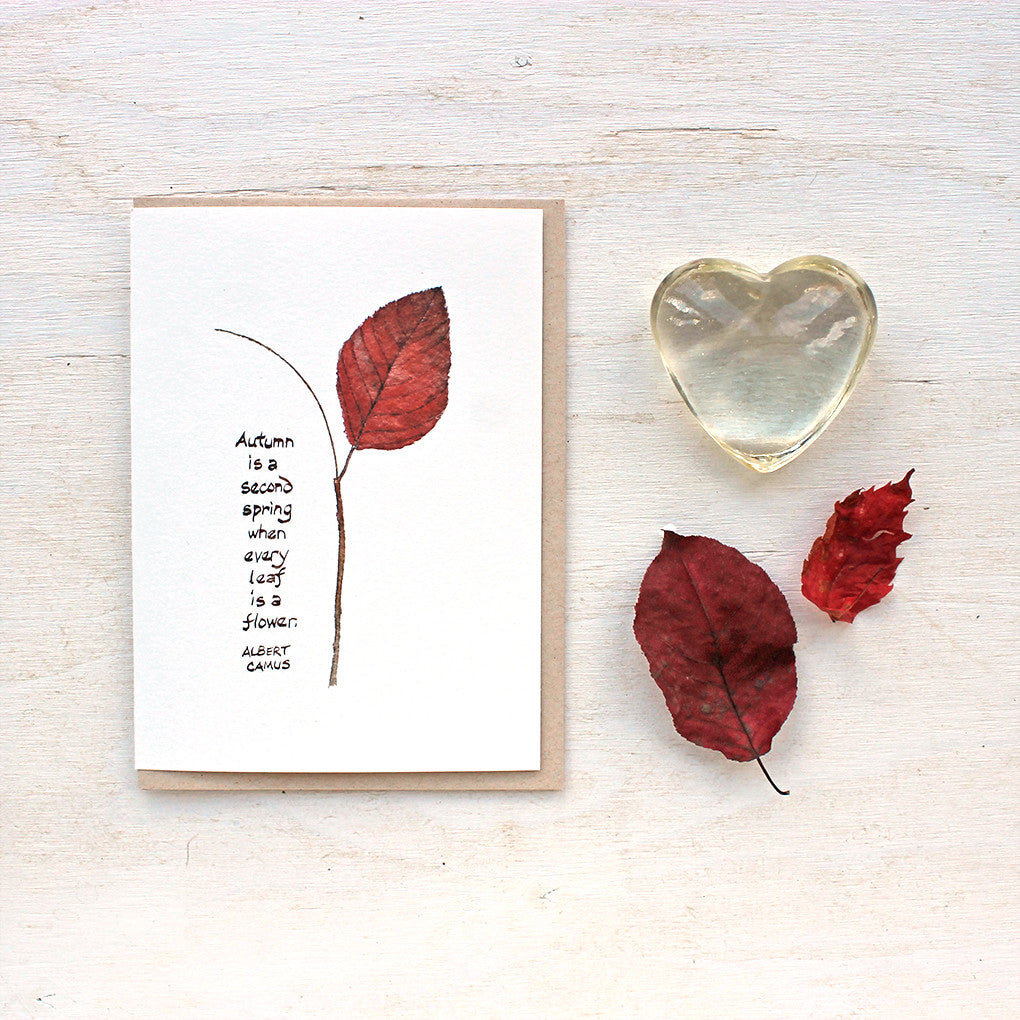 Autumn leaf watercolor with Camus quote notecards by Kathleen Maunder