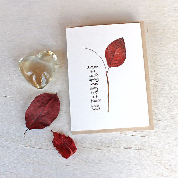 Autumn leaf watercolor with Camus quote note cards by Kathleen Maunder