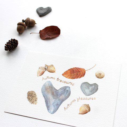 'Autumn Treasures, Autumn Pleasures' watercolor print by Kathleen Maunder of trowelandpaintbrush.com