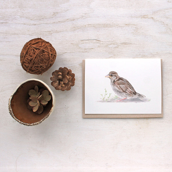 Note card featuring a baby sparrow by watercolour artist Kathleen Maunder