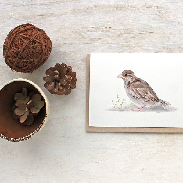 Sparrow note cards by Kathleen Maunder, trowelandpaintbrush
