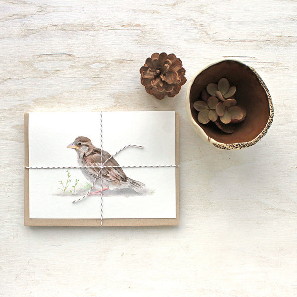 Set of note cards featuring a sparrow watercolor by Kathleen Maunder