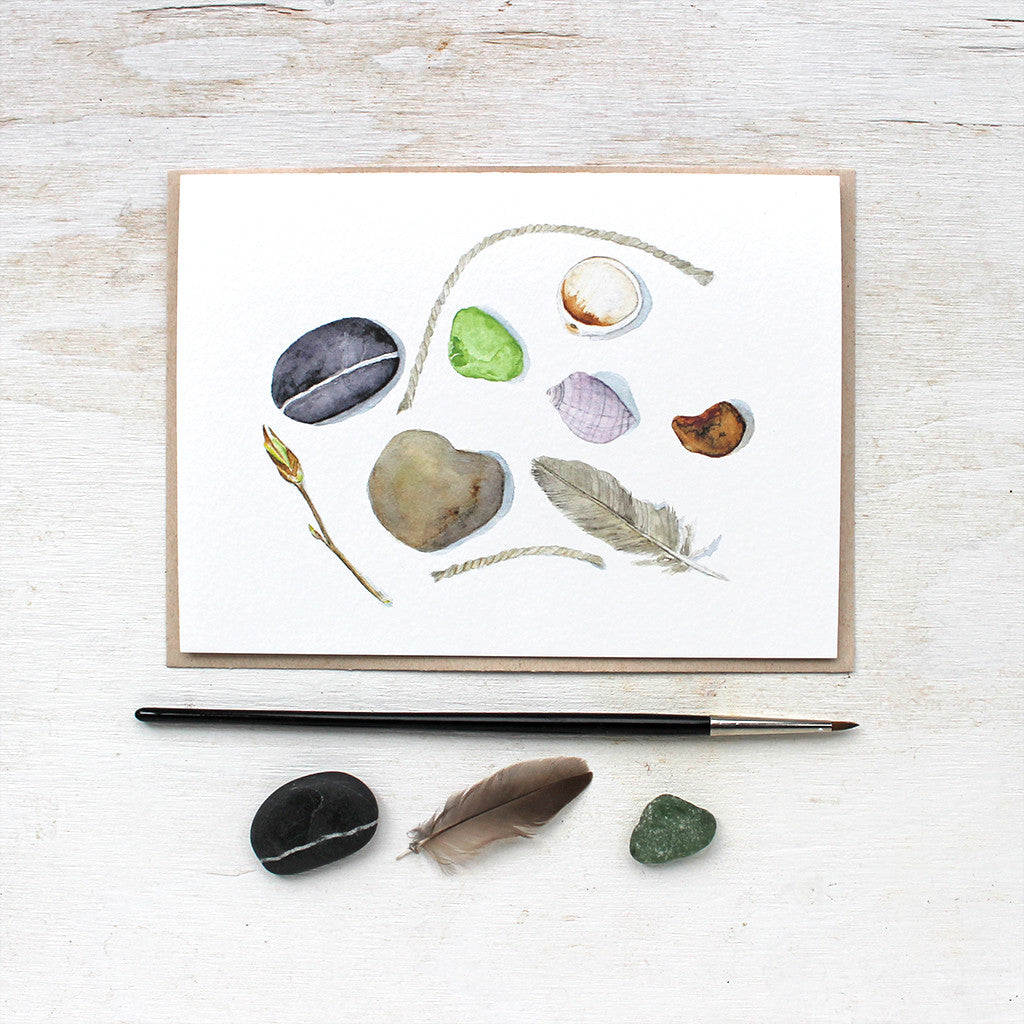 A Lovely Note Card Featuring Natural Objects Found On A Beach. Watercolor  Artist Kathleen Maunder  Collection Note