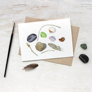 Beach-themed note cards by watercolor artist Kathleen Maunder of Trowel and Paintbrush