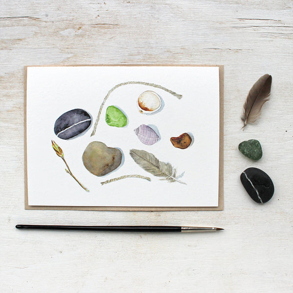 Beach collection note cards by watercolor artist Kathleen Maunder featuring shells, stones and sea glass.