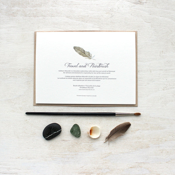 The back of 'Beach Collection' note cards featuring a feather.