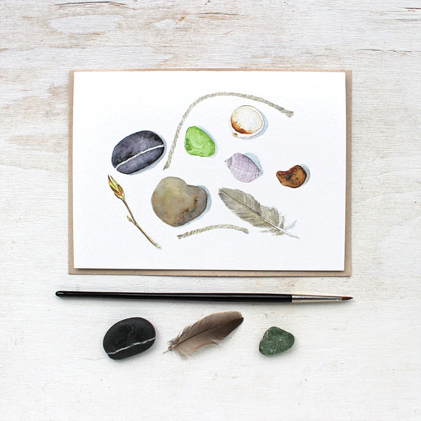 A lovely note card featuring natural objects found on a beach. Watercolor artist Kathleen Maunder.