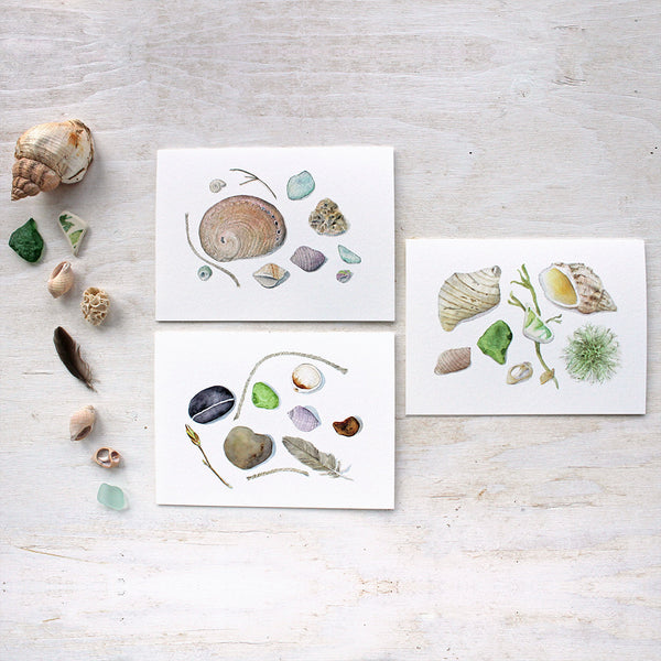 Note cards featuring shells, stones, sea glass and other beach treasures painted in watercolor by Kathleen Maunder