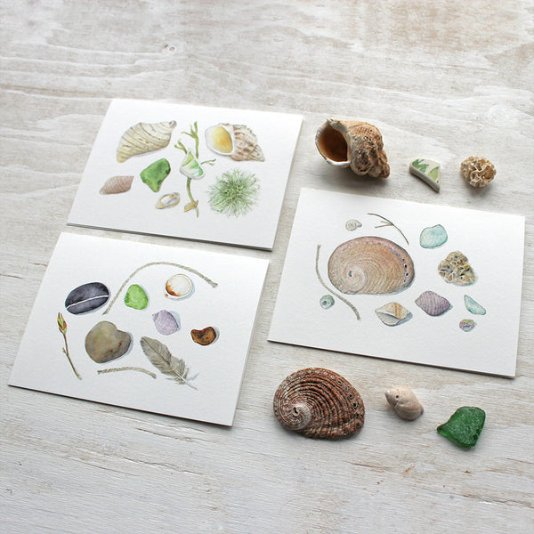 Beach-themed note card set by watercolor artist Kathleen Maunder of Trowel and Paintbrush