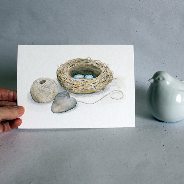 Bird nest print by watercolor artist Kathleen Maunder, Trowel and Paintbrush
