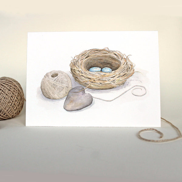 Bird nest note card