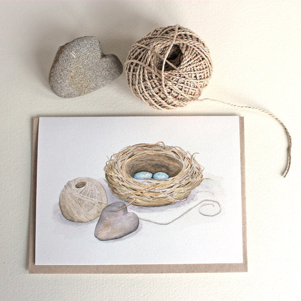 Bird nest watercolor painting on note cards by Kathleen Maunder, Trowel and Paintbrush