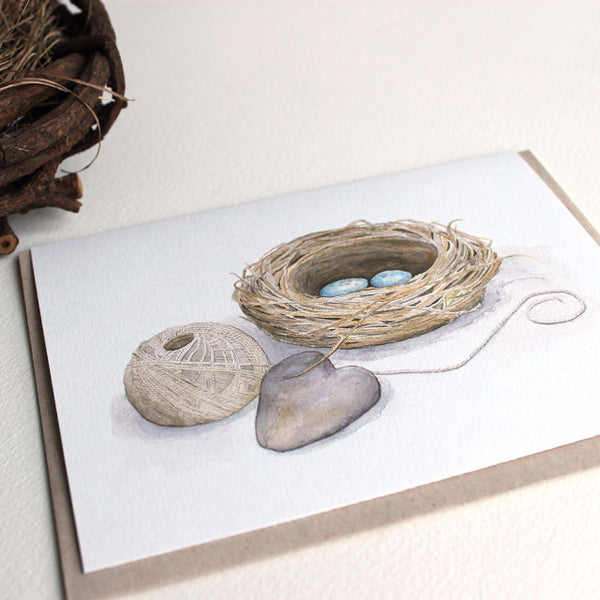 Bird nest watercolor painting on note card by Kathleen Maunder, Trowel and Paintbrush