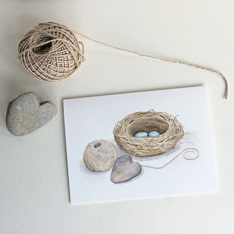 Bird nest watercolour note card by Kathleen Maunder of Trowel and Paintbrush