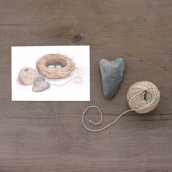 Bird Nest Watercolor print with heart and ball of yarn (Artist Kathleen Maunder)