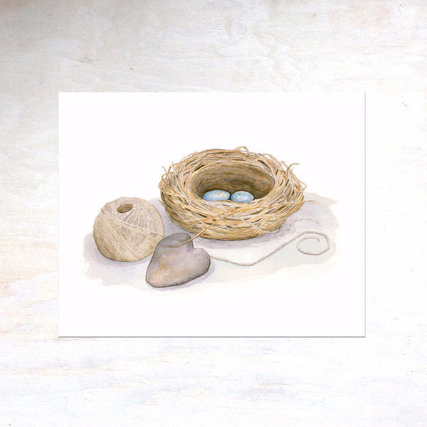 Bird nest watercolor image by artist Kathleen Maunder of Trowel and Paintbrush