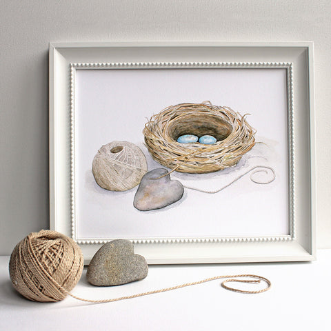 Bird nest watercolor image by Kathleen Maunder, trowelandpaintbrush.com