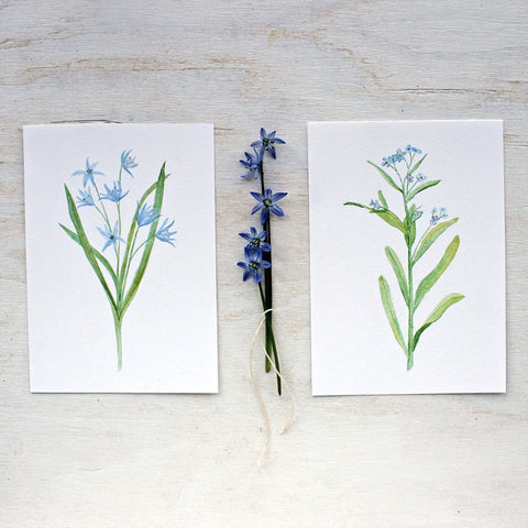 Blue Botanical Watercolor Prints