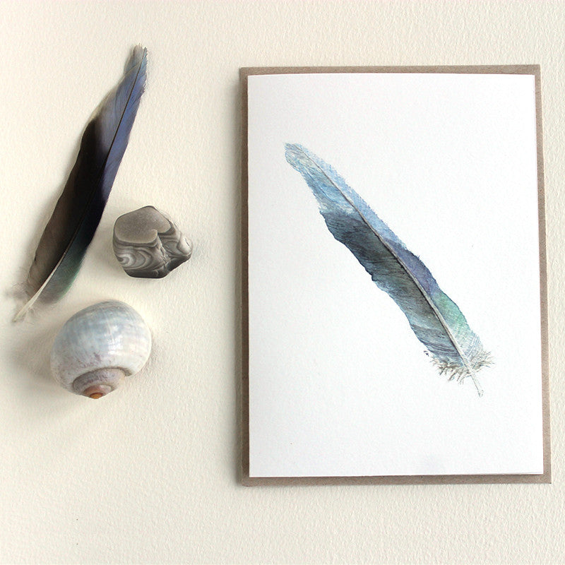 Blue feather watercolor note card by artist Kathleen Maunder