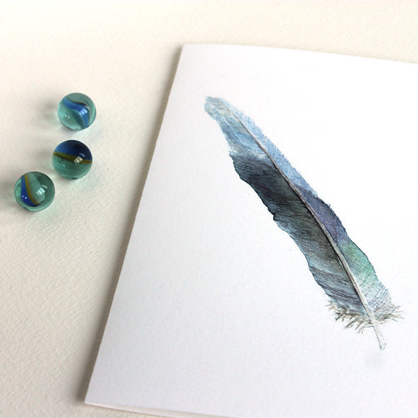 Blank greeting card with a feather art by watercolor artist Kathleen Maunder