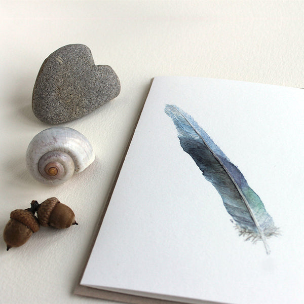 Blue parrot feather painting by watercolor artist Kathleen Maunder. Set of five blank note cards.