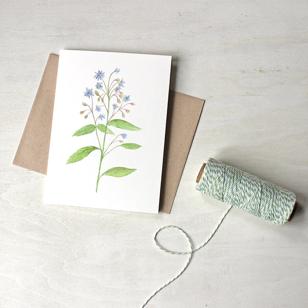 Blue flowers - borage watercolor note cards by Kathleen Maunder