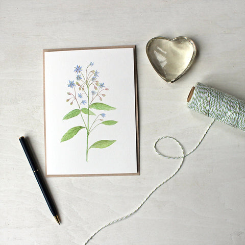 Borage botanical watercolour note cards by artist Kathleen Maunder
