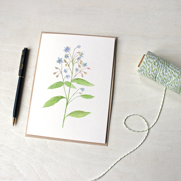 Note card featuring a watercolor painting of borage by Kathleen Maunder