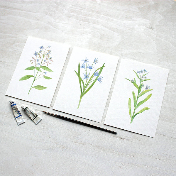 Set of three blue botanical prints - Borage, scilla and forget-me-nots - Watercolor art by Kathleen Maunder