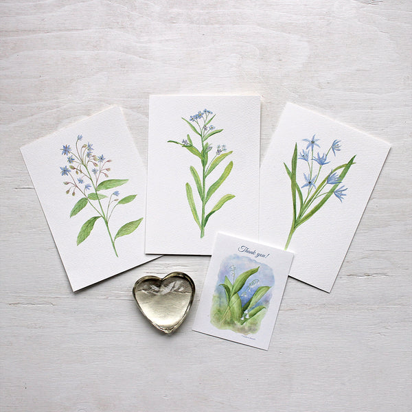 Blue watercolour prints - Set of three - Borage, Scilla and Forget-me-nots by artist Kathleen Maunder