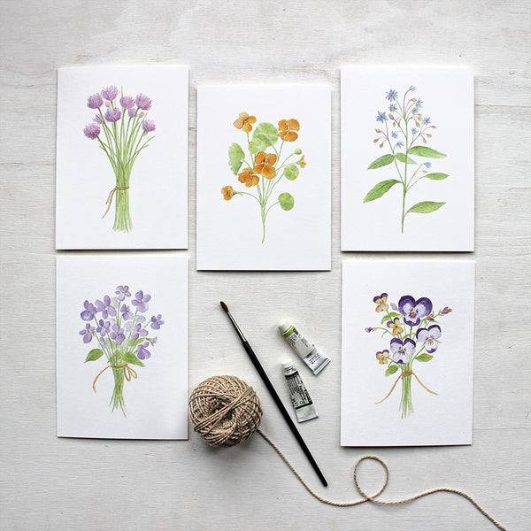 Botanical note card assortment featuring watercolor paintings by Kathleen Maunder