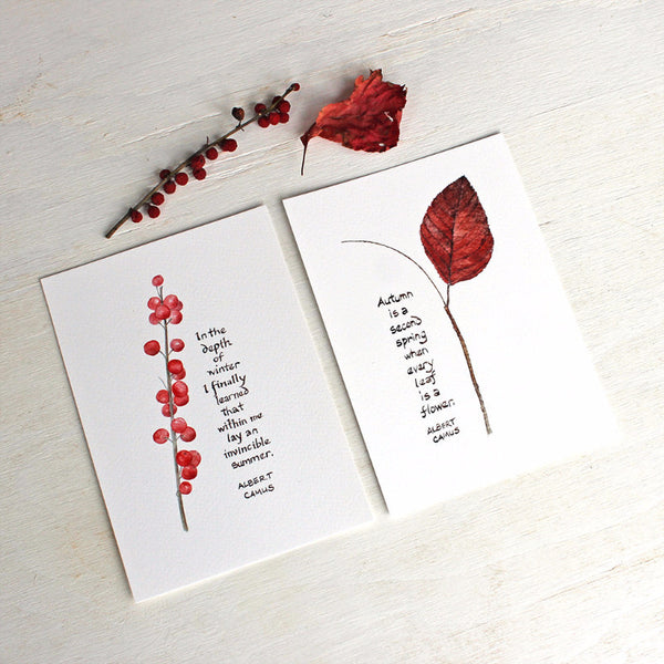 Winterberry and Autumn Leaf images with hand lettered Camus quotes