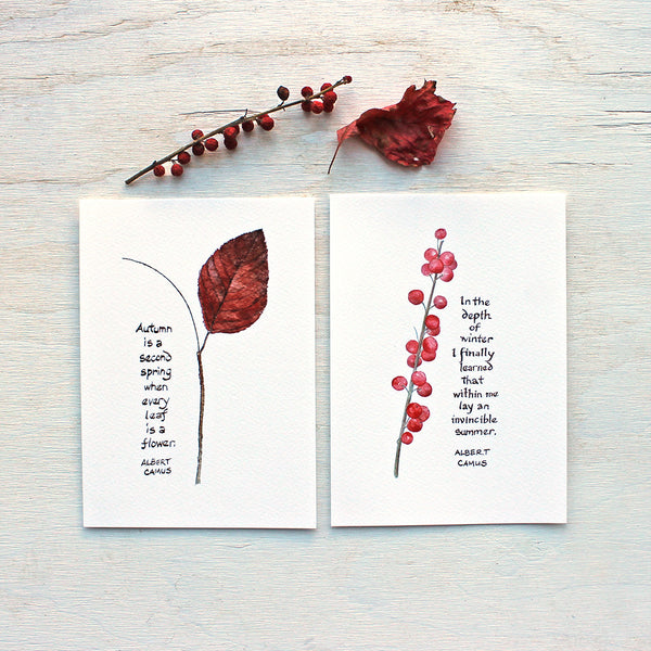 Autumn leaf and Winterberry watercolors with quotes by Albert Camus