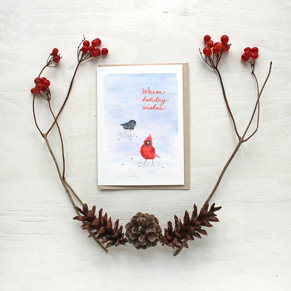 Cardinal and Junco Watercolour Bird Holiday Cards by Kathleen Maunder