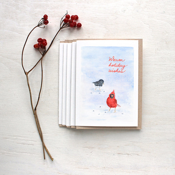 Cardinal and Junco Bird Holiday Cards featuring a watercolor by Kathleen Maunder