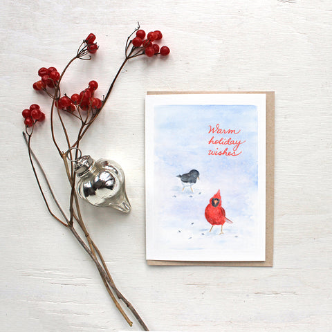 Cardinal and Junco Watercolor Bird Holiday Cards by Kathleen Maunder