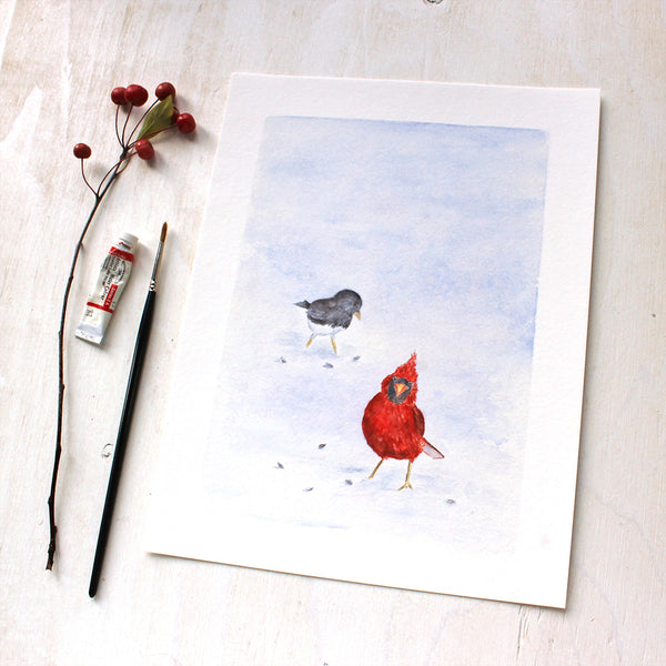 Cardinal and Junco - Winter Bird Art Print by Watercolor Artist Kathleen Maunder