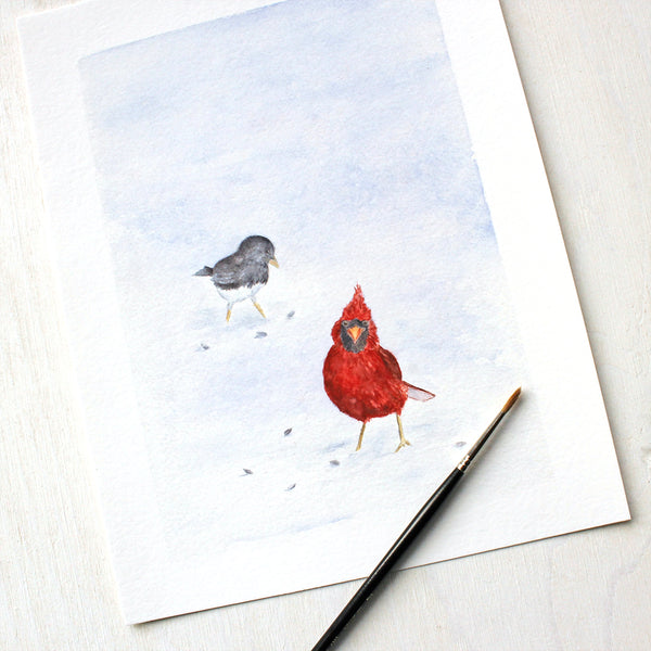 Closeup of Cardinal and Junco Bird Art Print by Watercolor Artist Kathleen Maunder
