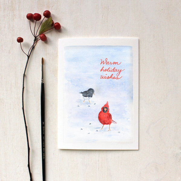 Cardinal and Junco Bird Holiday Cards featuring a watercolour by Kathleen Maunder