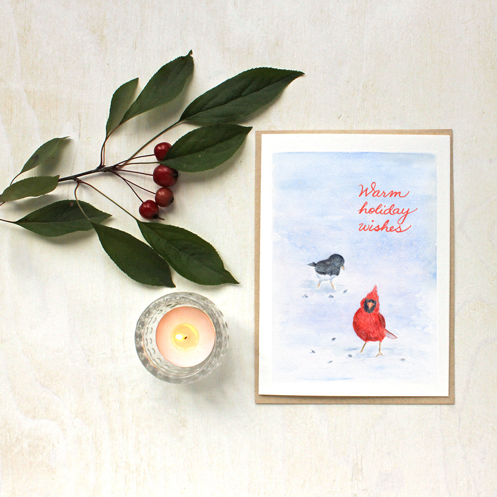 Cardinal and Junco Watercolor Holiday Cards by Kathleen Maunder