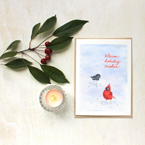 Cardinal and Junco Watercolor Bird Christmas Cards by Kathleen Maunder